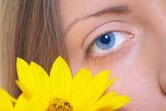 Olho fêmea com uma flor amarela imagem de stock royalty free
