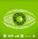 Olho feito de poucos ícones da ecologia ilustração royalty free