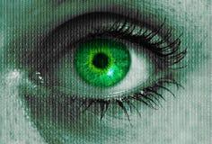 Olho futurista com a textura da matriz que olha o conceito do visor Imagens de Stock Royalty Free
