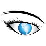 Olho humano bonito (da menina) com o mundo como a íris ilustração royalty free