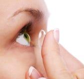 Olho humano com lente corretiva fotos de stock royalty free