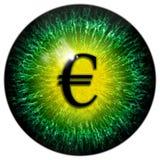 Olho louco abstrato verde do homem de negócio com euro- aluno Fotografia de Stock