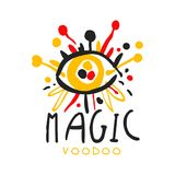 Olho mágico africano e americano do vudu do logotipo com agulhas ilustração do vetor