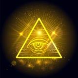 Olho maçônico no fundo de brilho dourado ilustração stock