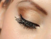 Olho macro bonito com chicotes longos, composição Imagens de Stock