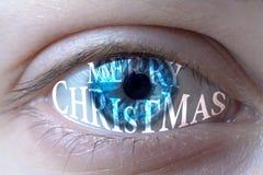 Olho pintado com inscrição do Feliz Natal foto de stock royalty free
