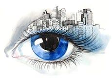 Olho urbano ilustração royalty free