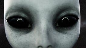 Olhos abertos do estrangeiro A terra do planeta é refletida nos olhos Conceito futurista do UFO Animação 4k cinemático ilustração royalty free