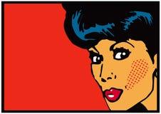 Olhos abertos grandes do cartão de Art Woman Secret do grampo do vintage Foto de Stock Royalty Free