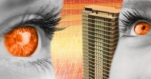 Olhos alaranjados e construções altas com fundo econômico da finança Imagem de Stock Royalty Free