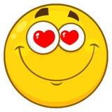 Olhos amarelos de sorriso de Smiley Face Character With Hearts dos desenhos animados Fotos de Stock