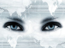 Olhos azuis e mapa Imagens de Stock