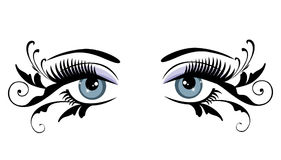 Olhos azuis florais com redemoinhos ilustração royalty free