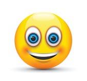 Olhos azuis grandes de sorriso do emoji Fotografia de Stock Royalty Free