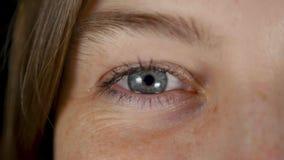 Olhos azuis isolados da mulher bonita nova no estúdio preto vídeos de arquivo