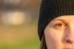 Olhos azuis novos bonitos do olho da mulher? Imagem de Stock