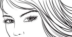 Olhos bonitos da menina ilustração stock