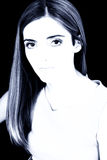 Olhos bonitos grandes em tons azuis no preto Fotografia de Stock Royalty Free