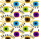Olhos coloridos com fundo sem emenda das pestanas Imagem de Stock