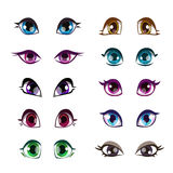 Olhos das meninas dos desenhos animados ajustados ilustração royalty free
