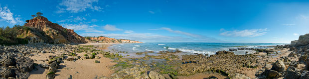 Olhos de Agua Sätta på land, Albufeira, Algarve, Portugal Arkivfoton