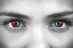 Olhos de Pychedelic da cara consideravelmente fêmea Imagens de Stock Royalty Free