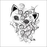 Olhos de um gato em um teste padrão vegetal ilustração royalty free