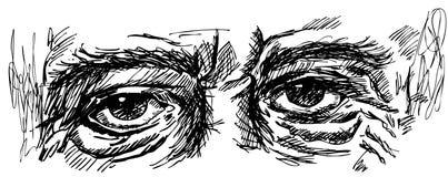 Olhos do ancião com enrugamentos Fotografia de Stock Royalty Free