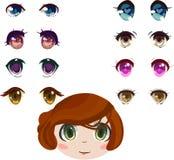 Olhos do Anime ajustados Fotos de Stock Royalty Free
