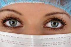 Olhos do médico com máscara fotos de stock