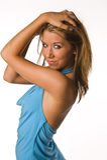 Olhos do vestido do azul de céu da mulher Foto de Stock
