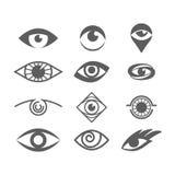 Olhos do vetor ajustados no branco Olho Logo Concept Fotos de Stock Royalty Free