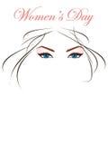 Olhos e cabelos bonitos para o dia da mulher Imagens de Stock