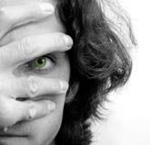 Olhos e mão Imagens de Stock Royalty Free