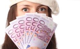 Olhos e ventilador da mulher de euro- notas de banco Fotos de Stock Royalty Free