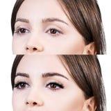 Olhos fêmeas antes e depois da extensão da pestana Imagens de Stock
