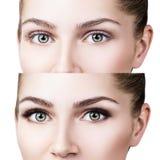Olhos fêmeas antes e depois da extensão da pestana Fotos de Stock Royalty Free