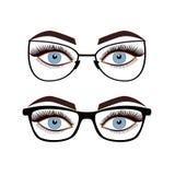 Olhos fêmeas com os vidros isolados no fundo branco Fotos de Stock