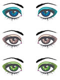 Olhos fêmeas dos desenhos animados ajustados ilustração stock