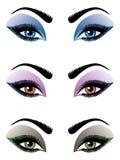 Olhos fêmeas dos desenhos animados ajustados ilustração do vetor