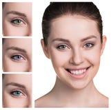 Olhos fêmeas em lentes de contato da cor imagem de stock royalty free