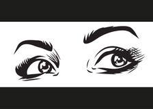 Olhos fêmeas emocionais bonitos com composição ilustração do vetor