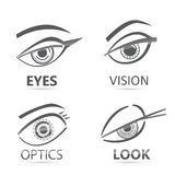 Olhos gráficos do olhar da mulher ajustados Imagem de Stock