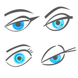 Olhos gráficos do olhar da mulher do robô ajustados ilustração do vetor