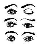 Olhos Handdrawn e testas esboçado do vetor ajustados ilustração stock