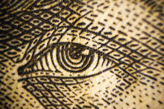 Olhos macro do tiro do close up da cédula do dinheiro da troca famosa do dinheiro do valor dos povos de Ucrânia Fotografia de Stock