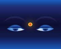 Olhos no fundo azul profundo Imagens de Stock Royalty Free