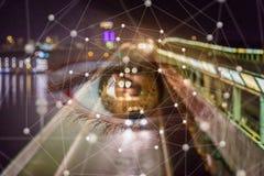 Olhos que olham a rede de estradas imagem de stock