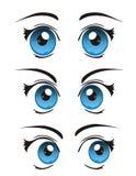 Olhos realísticos frescos dos desenhos animados do vetor Imagens de Stock Royalty Free