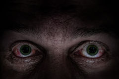 Olhos verdes assustadores Foto de Stock Royalty Free